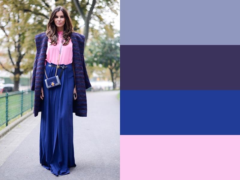 10 идей сочетания синего цвета в одежде - Розовая блузка и фиолетовое пальто