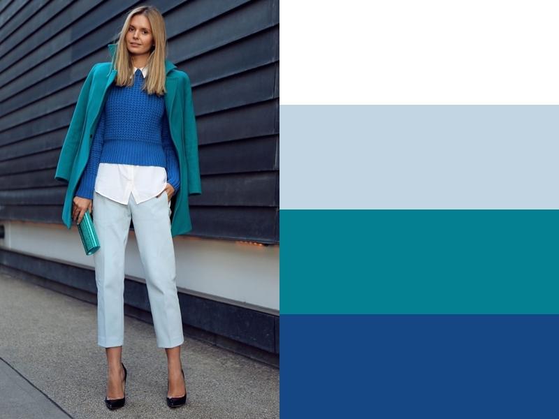 10 идей сочетания синего цвета в одежде - Бирюзовое пальто и бледно-голубые брюки