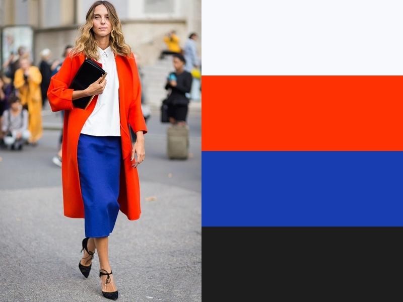 10 идей сочетания синего цвета в одежде - Белая блузка и красное пальто