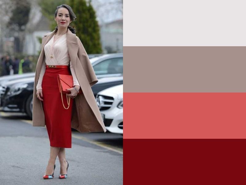 Бежевая блузка и пальто с красной юбкой