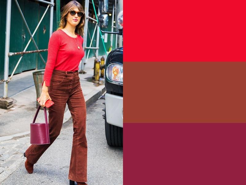 Коричневые брюки и бордовая сумка с красным свитером