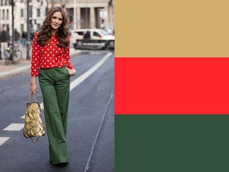 Зелёные брюки и жёлтая сумка с красной блузкой
