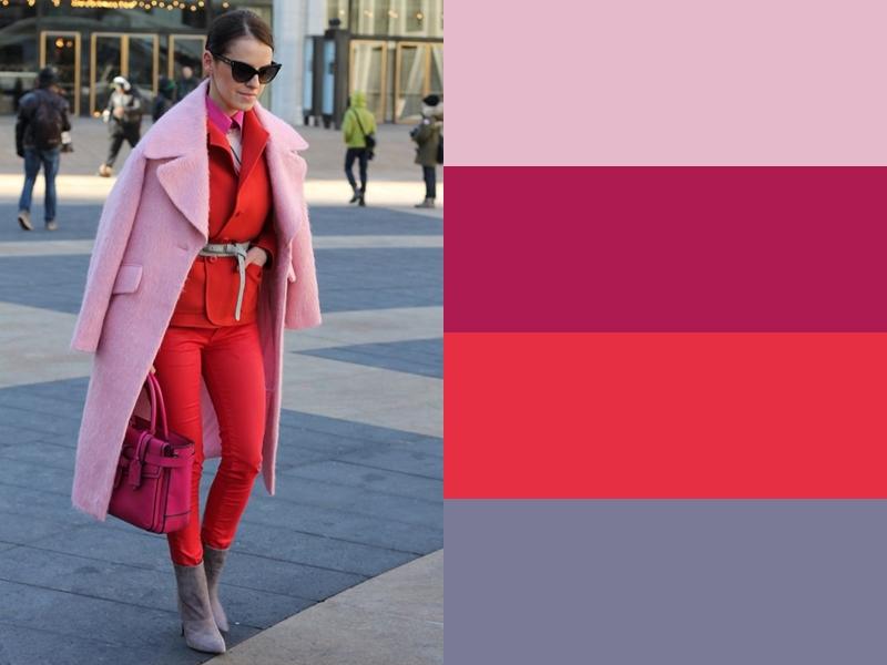 Розовое пальто и серые ботильоны с красным костюмом