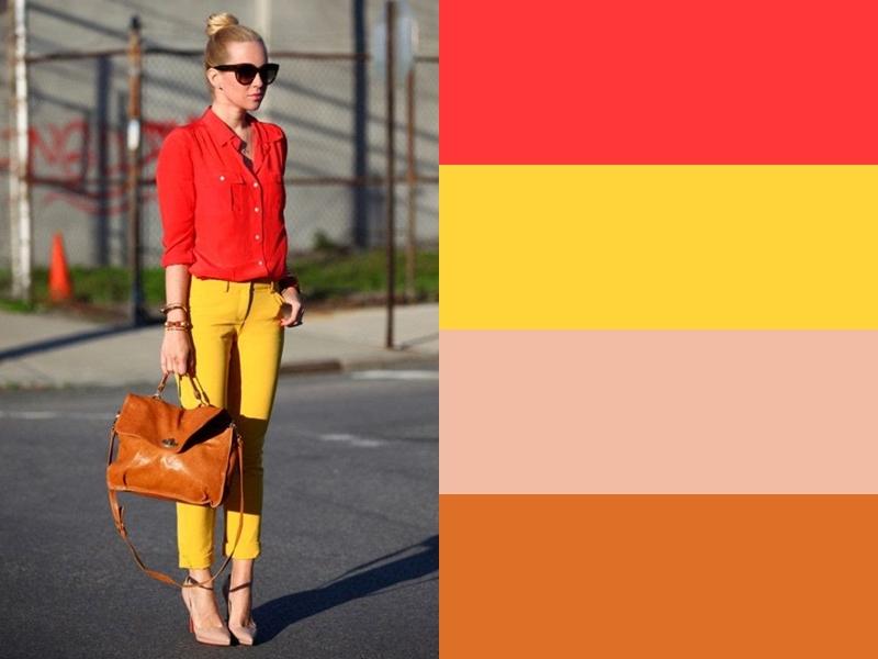 Жёлтые брюки и рыжая сумка с красной рубашкой
