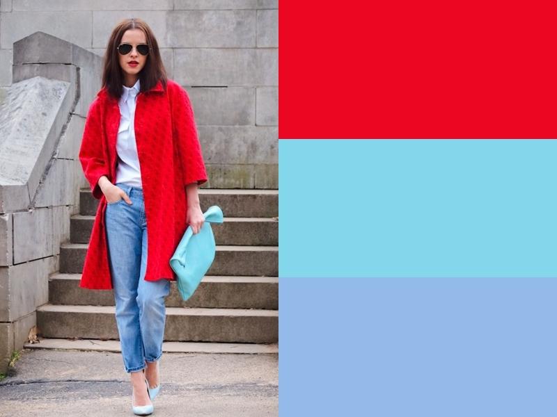 Голубая сумка, туфли и джинсы с красным пальто