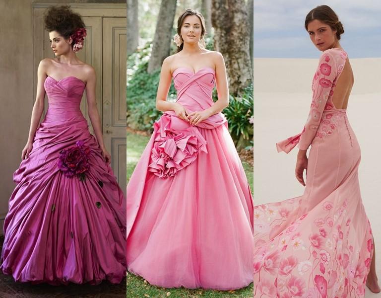 Новые и необычные тенденции свадебной моды 2019 - Ярко-розовые платья