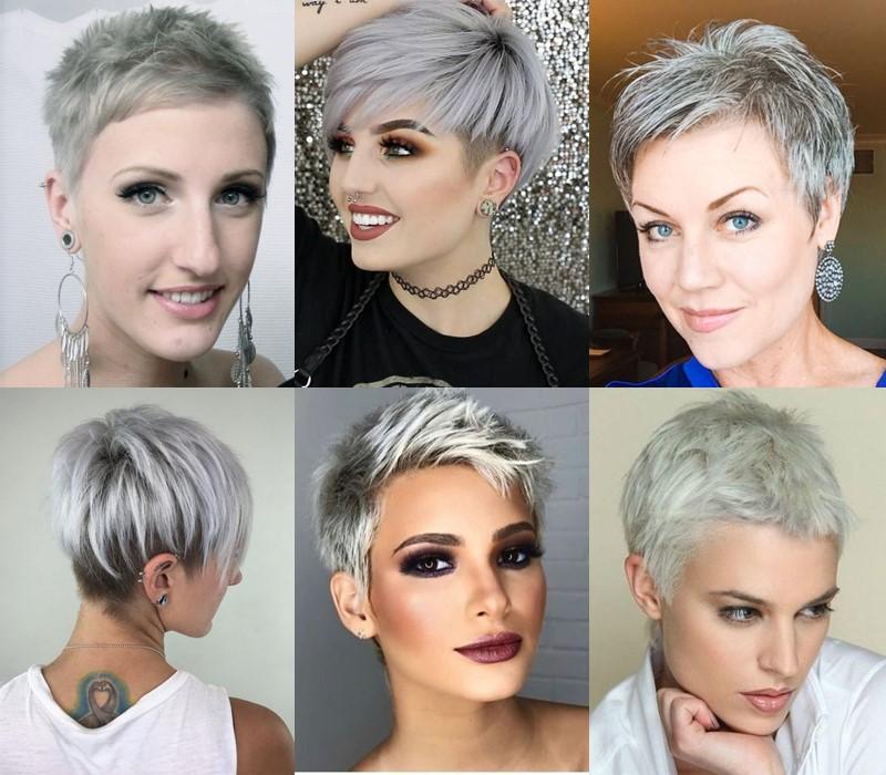 5 модных стилей с серыми волосами: стрижки и причёски - Короткая стрижка пикси