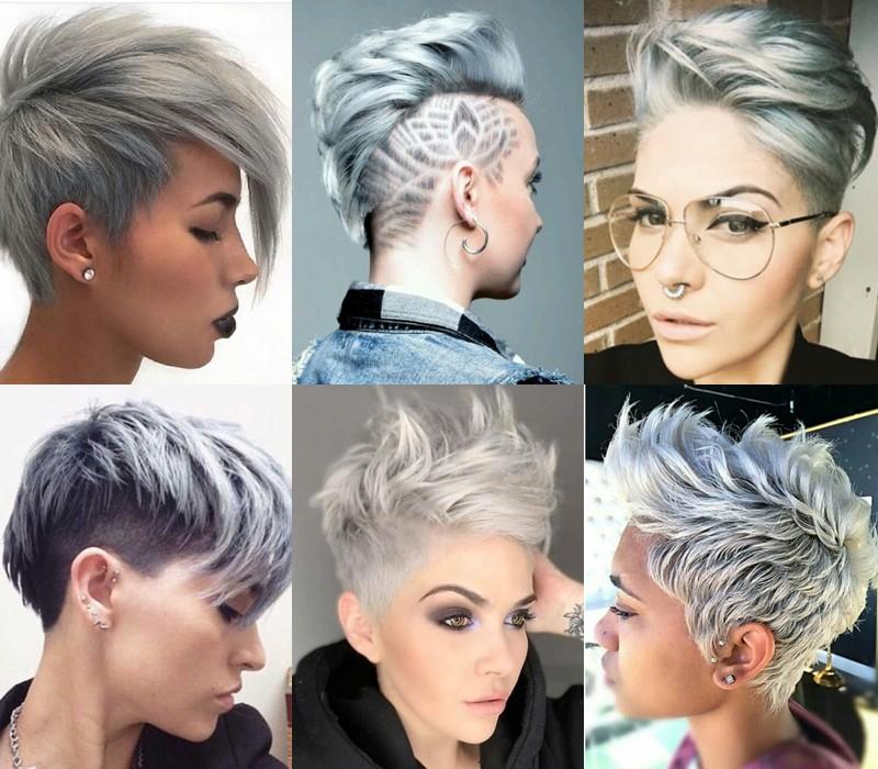 5 модных стилей с серыми волосами: стрижки и причёски - Стрижка в панк-стиле
