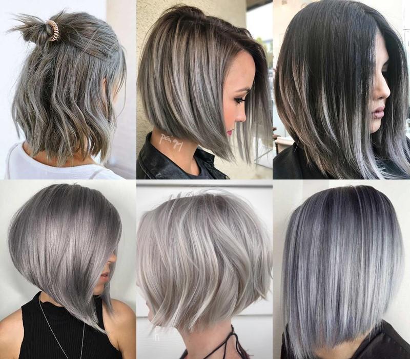 5 модных стилей с серыми волосами: стрижки и причёски - Молодёжная стрижка боб-каре