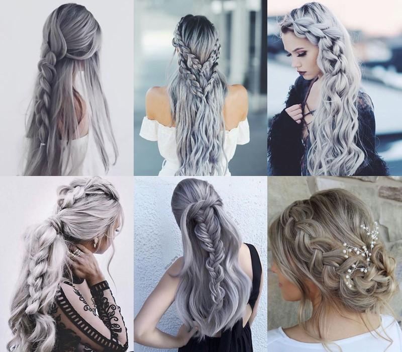 5 модных стилей с серыми волосами: стрижки и причёски - Толстые и тонкие косы