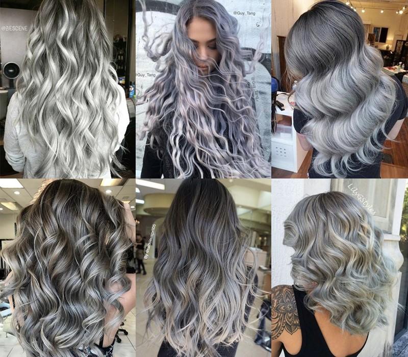5 модных стилей с серыми волосами: стрижки и причёски - Волны и кудри