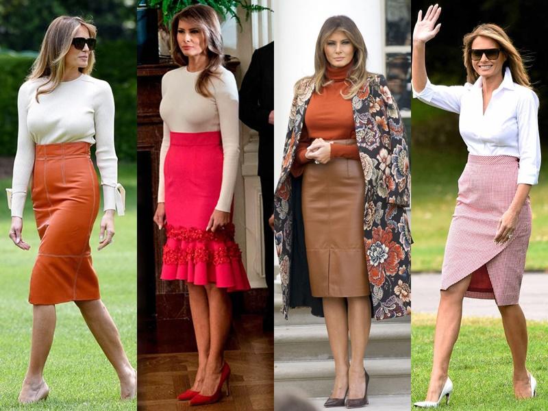 Леди Совершенство: стиль Мелании Трамп - Модные юбки до колена