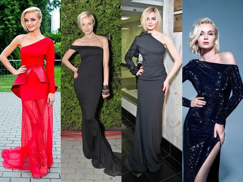 Дерзкая девчонка: звёздный стиль Полины Гагариной - Платья с асимметричным верхом (на одно плечо)
