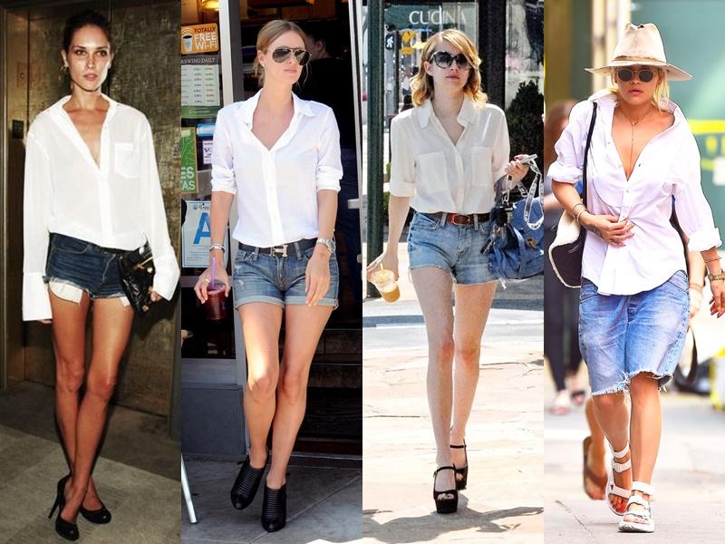 Как звёзды носят белую рубашку - Джинсовые шорты
