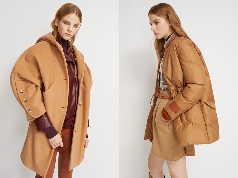 Сумки в оттенках бежевого в коллекциях Trussardi осень-зима 2019-2020 - пальто и куртка