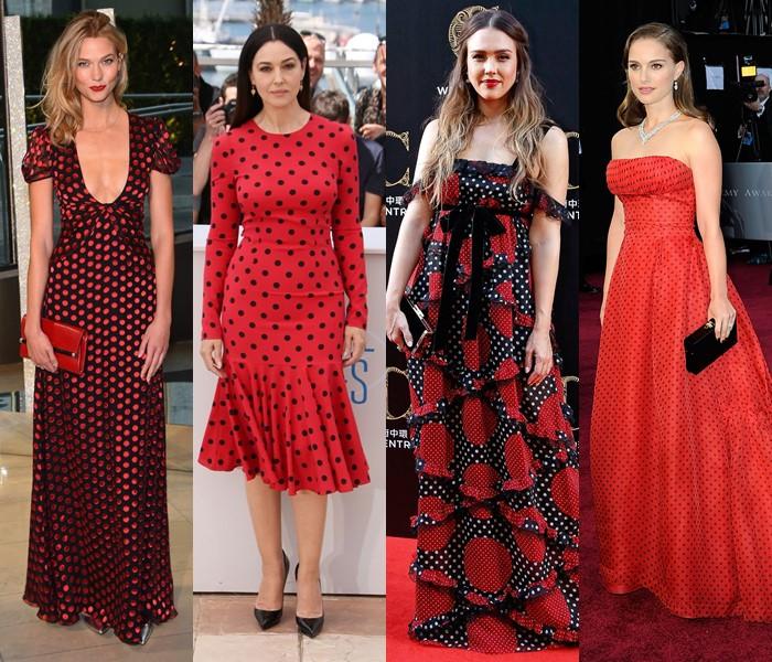 5 популярных цветов для модных платьев в горошек - красные