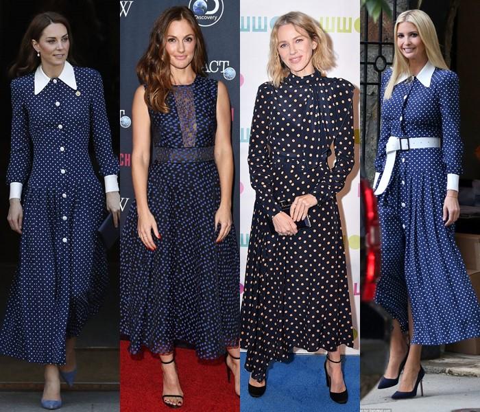 5 популярных цветов для модных платьев в горошек - тёмно-синие