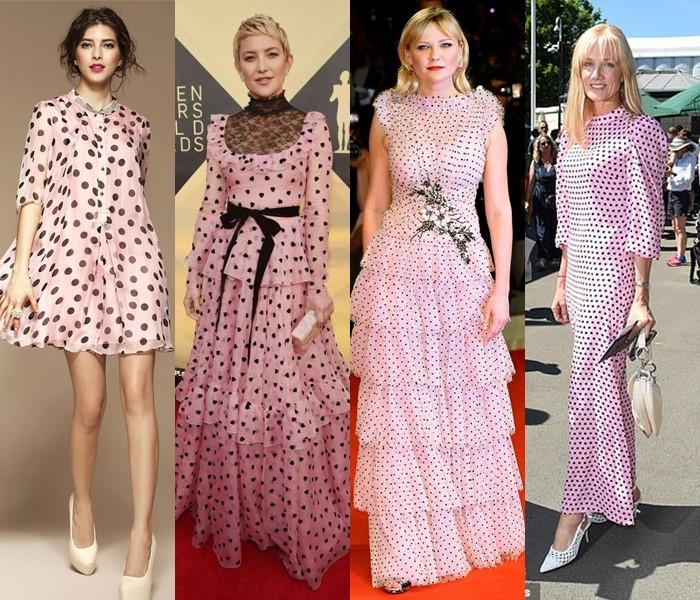 5 популярных цветов для модных платьев в горошек - светло-розовые