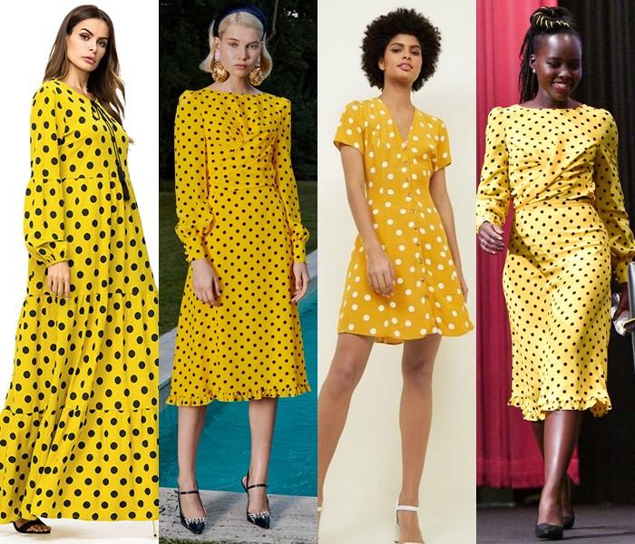 5 популярных цветов для модных платьев в горошек - жёлтые