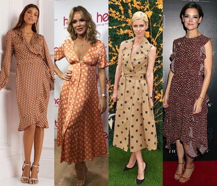 5 популярных цветов для модных платьев в горошек - бежевые