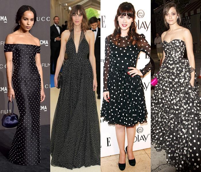 5 популярных цветов для модных платьев в горошек - черные