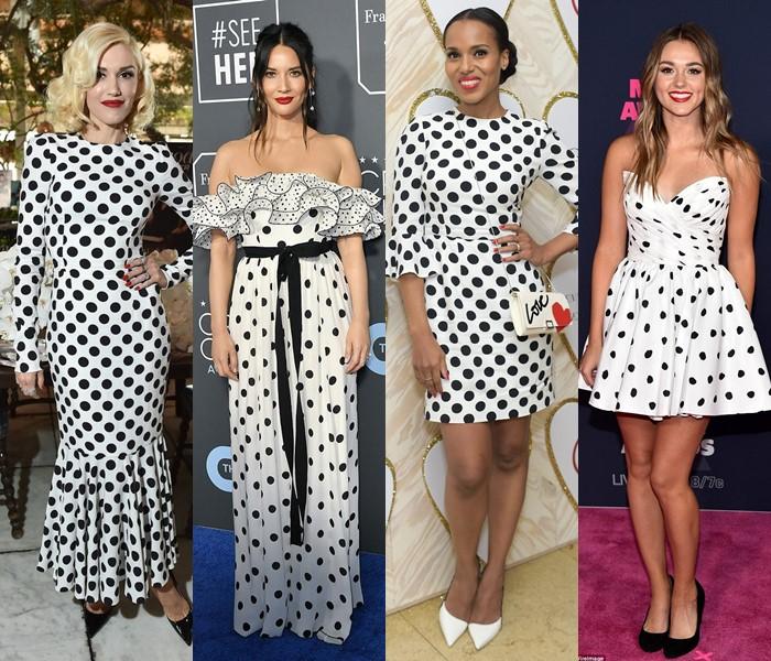5 популярных цветов для модных платьев в горошек - белые