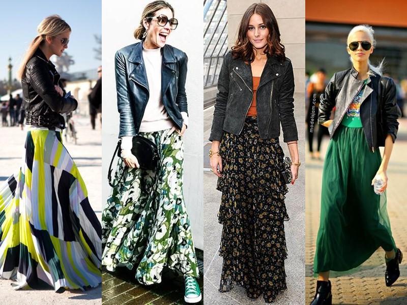 Как стильно носить длинную юбку весной и осенью: 5 модных сочетаний - Кожаная куртка