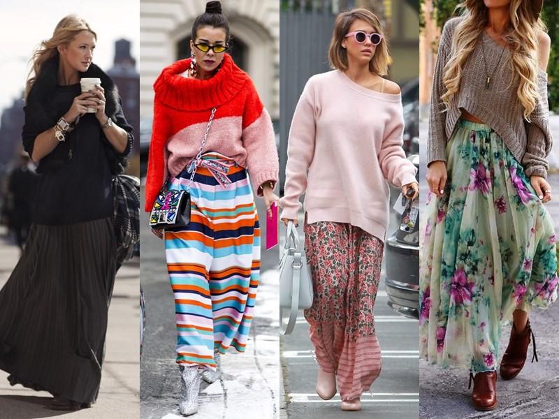 Как стильно носить длинную юбку весной и осенью: 5 модных сочетаний - Модный трикотажный свитер