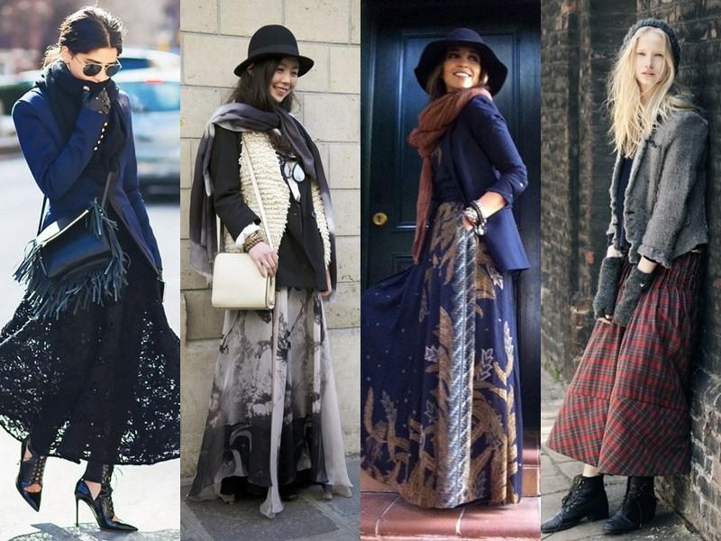 Как стильно носить длинную юбку весной и осенью: 5 модных сочетаний - Блейзер и шарф