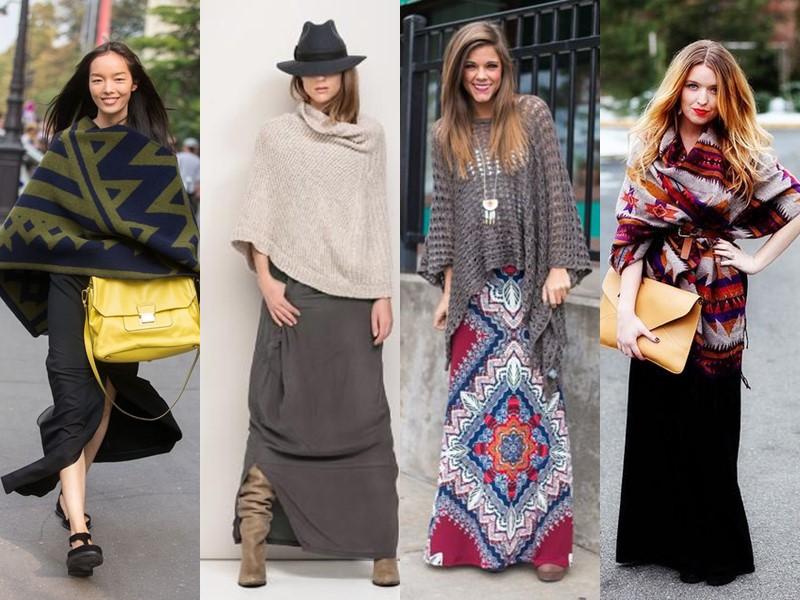 Как стильно носить длинную юбку весной и осенью: 5 модных сочетаний -Трикотажное пончо или палантин