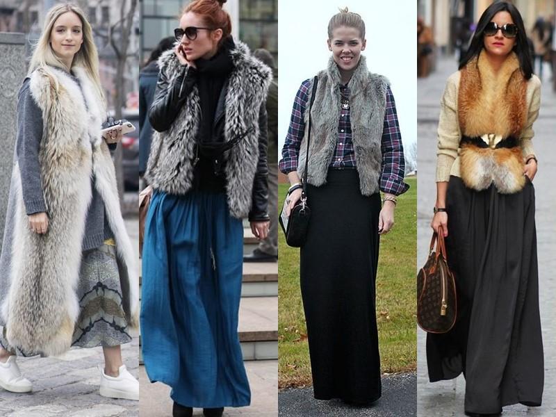 Как стильно носить длинную юбку весной и осенью: 5 модных сочетаний - Тёплая жилетка