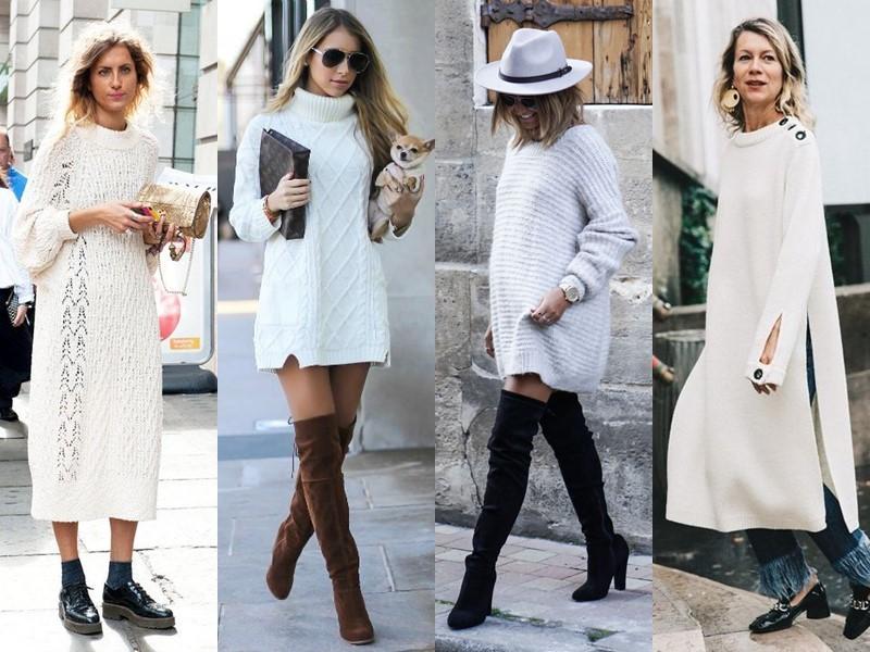 Трикотажное платье-свитер: стиль на осень и зиму - белое