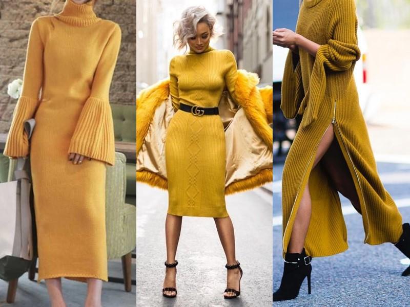 Трикотажное платье-свитер: стиль на осень и зиму - жёлтое