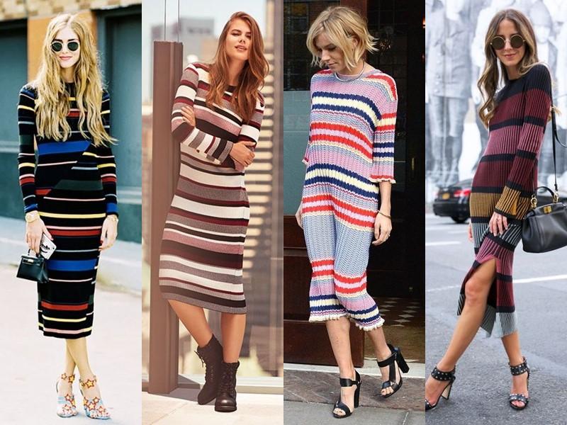 Трикотажное платье-свитер: стиль на осень и зиму - полосатое