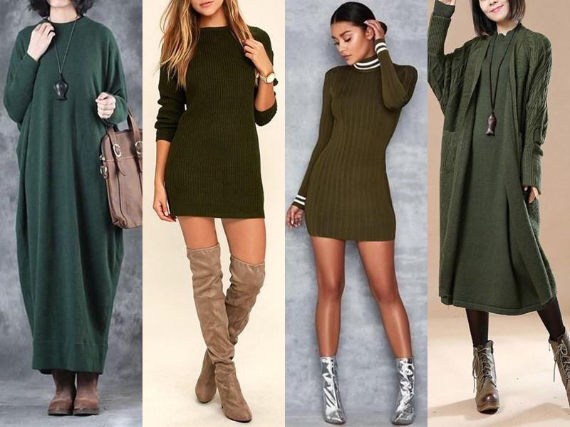 Трикотажное платье-свитер: стиль на осень и зиму - зеленое