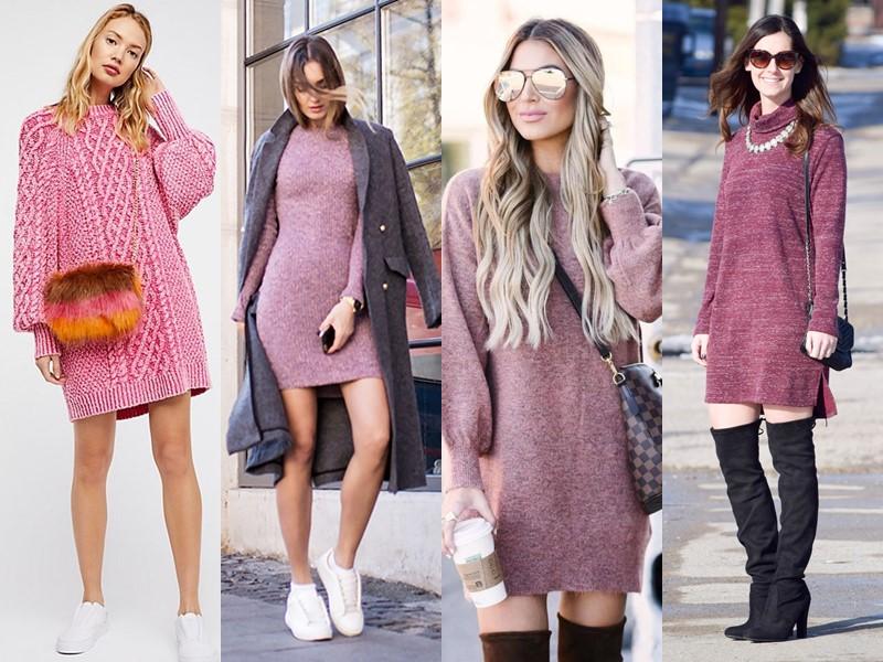 Трикотажное платье-свитер: стиль на осень и зиму - розовое