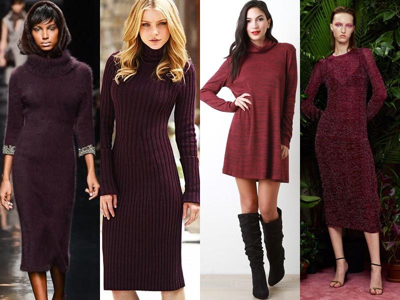 Трикотажное платье-свитер: стиль на осень и зиму - бордовое