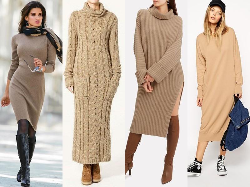 Трикотажное платье-свитер: стиль на осень и зиму - бежевое