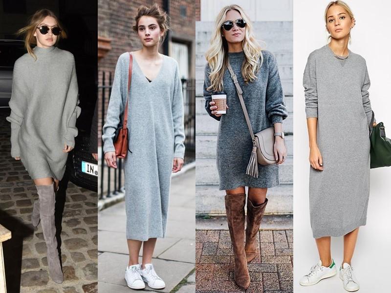 Трикотажное платье-свитер: стиль на осень и зиму - серое