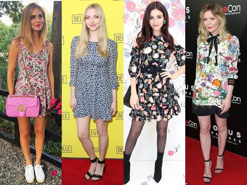 Звёздный стиль: платья с цветочным принтом - Короткие