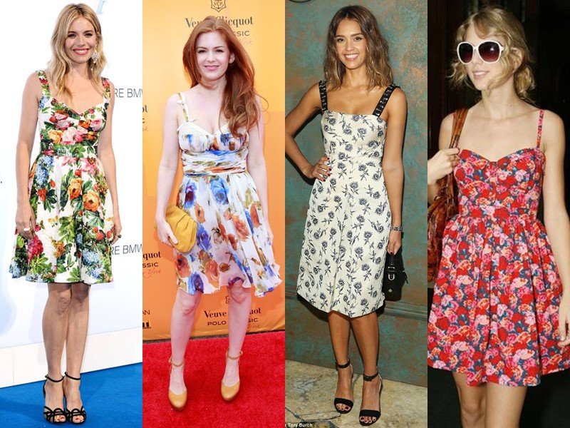 Звёздный стиль: платья с цветочным принтом - сарафаны