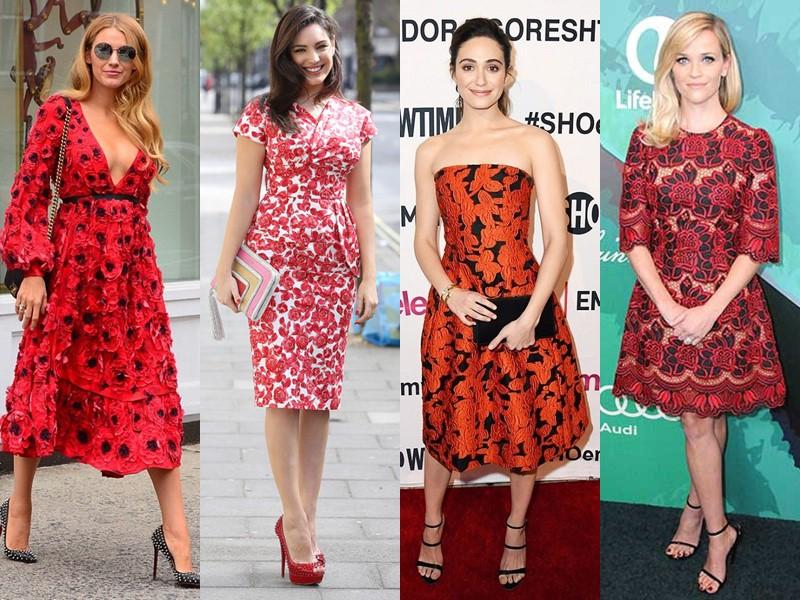 Звёздный стиль: платья с цветочным принтом - Красные