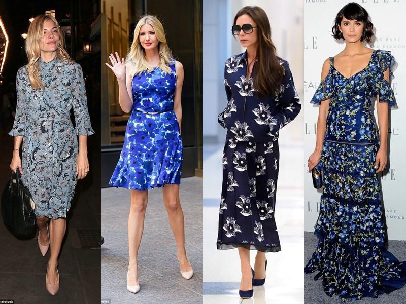 Звёздный стиль: платья с цветочным принтом - Синие