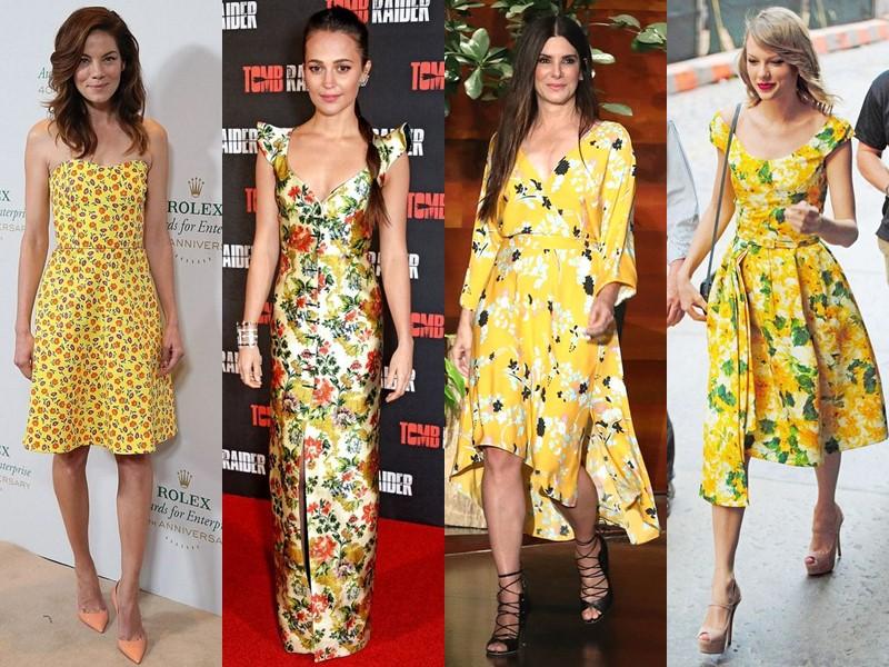 Звёздный стиль: платья с цветочным принтом - Жёлтые
