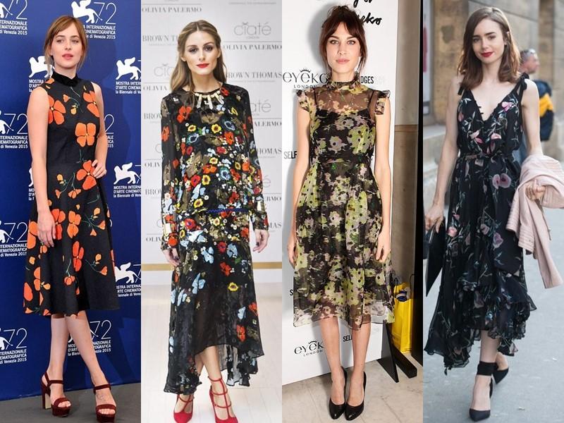 Звёздный стиль: платья с цветочным принтом - Чёрные