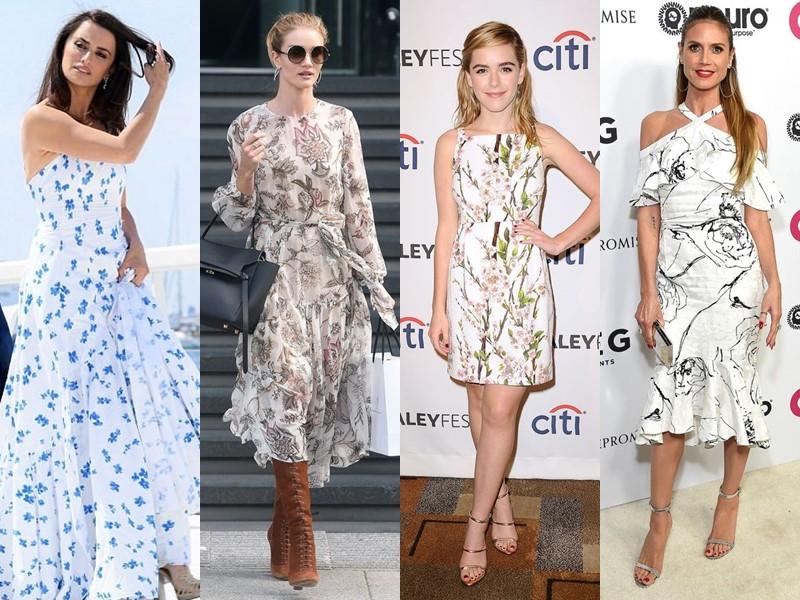 Звёздный стиль: платья с цветочным принтом - Белые