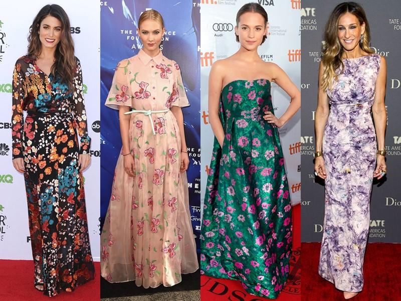 Звёздный стиль: платья с цветочным принтом - длинные в пол