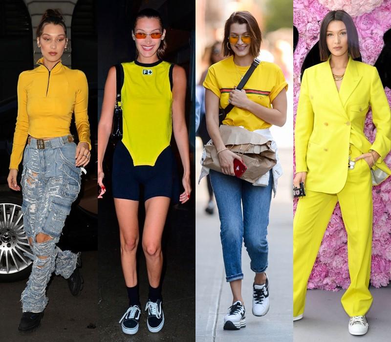 Стиль Беллы Хадид: цвета одежды - Яркий жёлтый