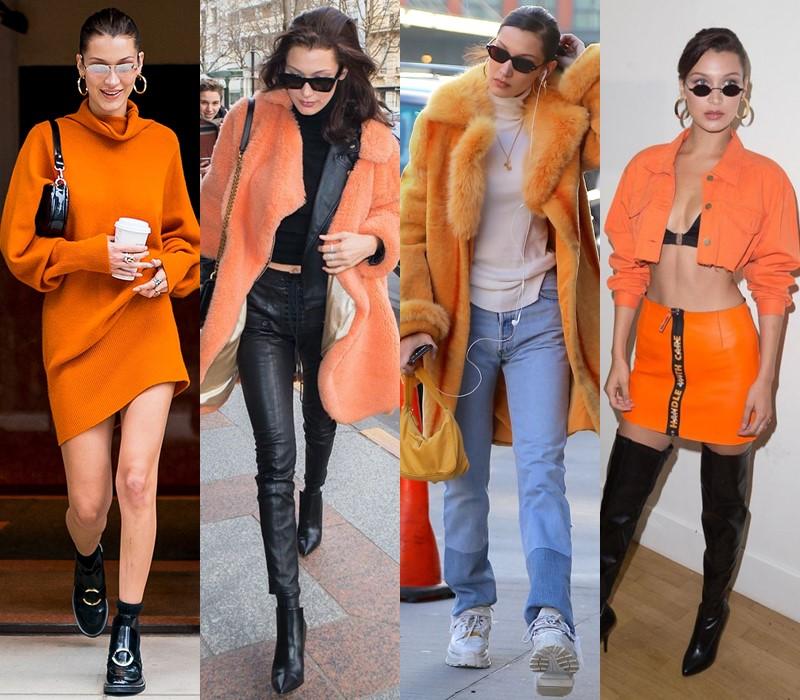 Стиль Беллы Хадид: цвета одежды - Оттенки оранжевого