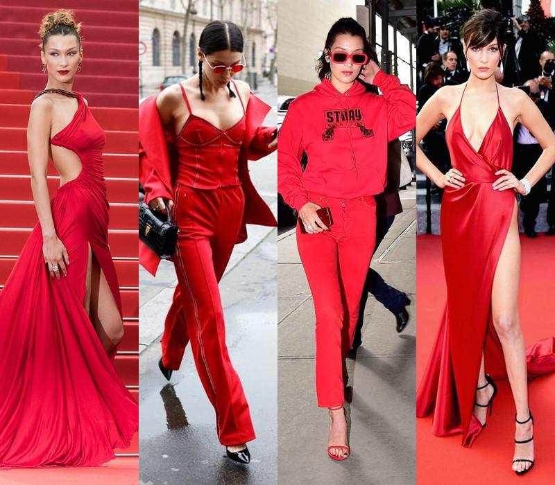 Стиль Беллы Хадид: цвета одежды - Горячий и холодный красный